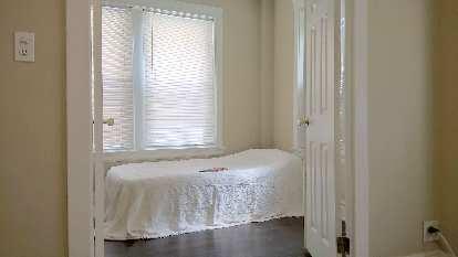 minimalist bedroom; white twin airbed
