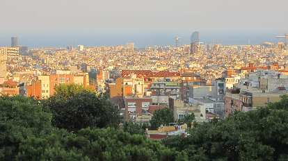The view of Barcelona during a sunset.