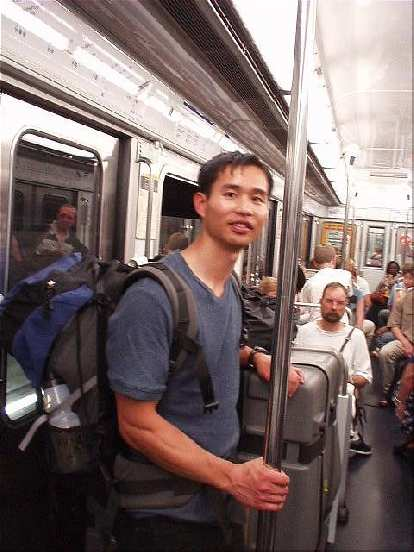 [4 days before the race] Felix Wong on the Metro.  Unfortunately, the RER train (Line C) I was counting on to get me to my hotel was closed for construction, so I ended up walking a mile further than I intended to, lugging my heavy bike case around.