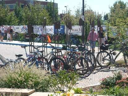 Shovels and pitchforks as bike racks at the Gardens of Spring Creek.