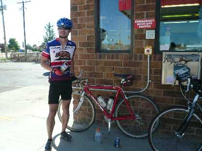 [Mile 142, 4:01 p.m.] Stopping at a checkpoint (this one a convenience store) in Platteville, CO.