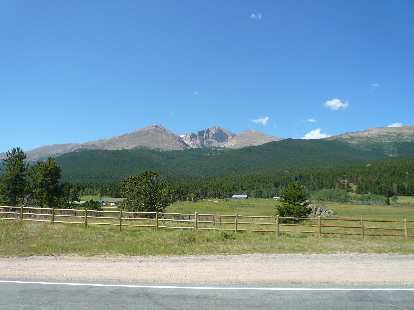 [Mile 74, 11:28 a.m.] Longs Peak.  One day I will climb it on foot.