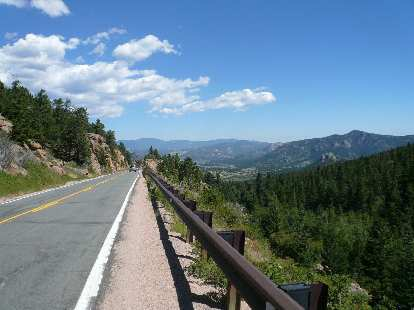 [Mile 77, 11:43 a.m.] Great view of Estes Park in the distance below.
