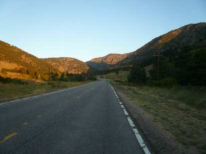 [Mile 18, 6:27 a.m.] Starting up the climb through Coal Creek Canyon.