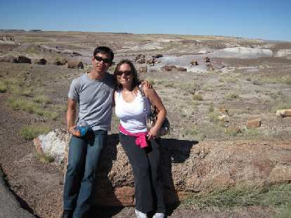 Felix Wong and Raquel in the Petrified Forest.