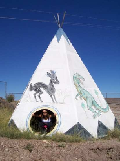 Raquel in the teepee.
