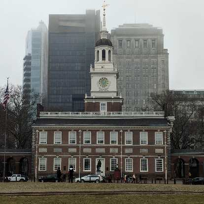 In front of Independence Hall is a statue of George Washington.
