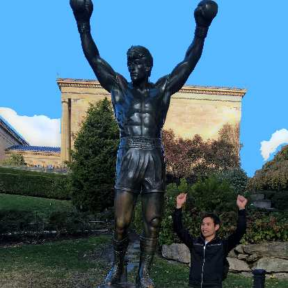 The Rocky statue with Felix Wong.