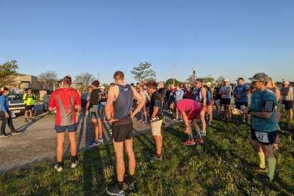 Runners at the start of the 2021 Pine Tree Marathon.