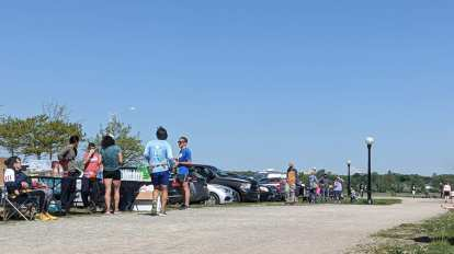 The aid station was located at the beginning of each lap and well-stocked with water and Gatorade.