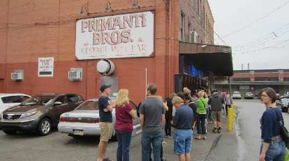 Long line for sandwiches at Primanti Brothers.