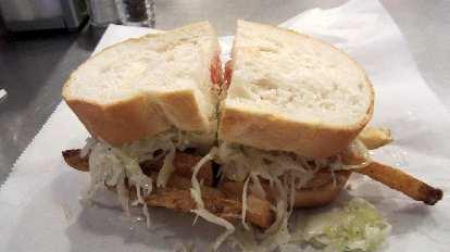"A Primanti Bros. ""Pitts-burger"" sandwich."