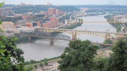 Bridges in downtown Pittsburgh.