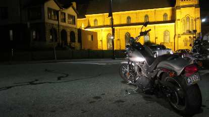 A cruiser bike in front of the 24 Hour Chapel.