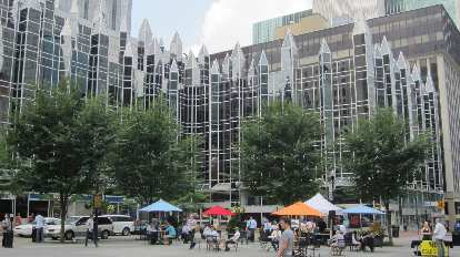 A square in downtown Pittsburgh.