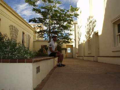 Felix Wong taking a break in a courtyard in back of the Lick Observatory at the top of Mt. Hamilton.  Still 40 miles to go!