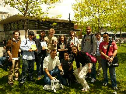 Our group at the Mont-Royal metro station, showing off their book finds.