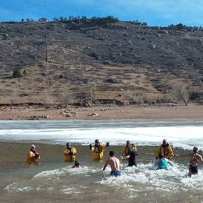 Submerging into the Horsetooth Reservoir at the 2019 Polar Bear Plunge.