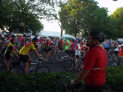 Mike looks on as 18,000 riders congregate for the 10th annual Providence Bridge Ride in Portland.