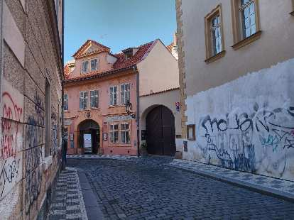 Alleyway on the west side of the Vltava River in Prague 1.