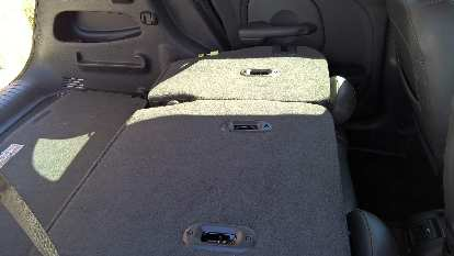 The PT Cruiser's rear seats folded down.