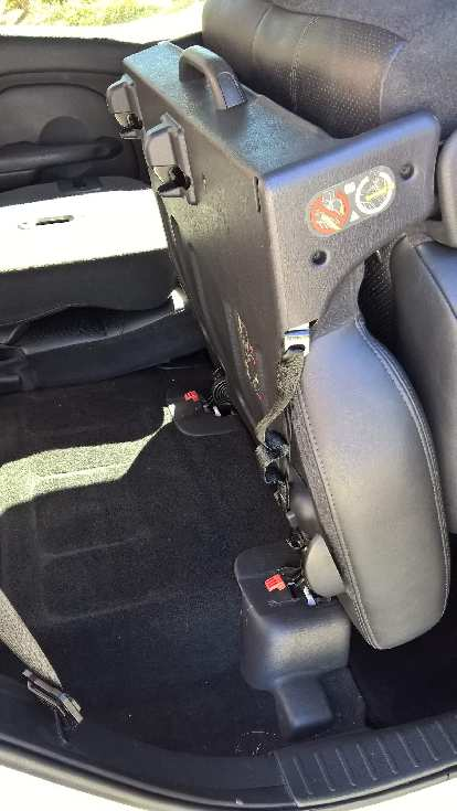 "The PT Cruiser's rear seat in the ""up"" position."