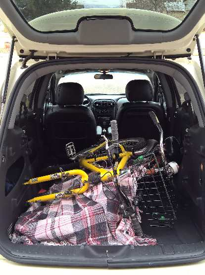 A mountain bike a cruiser bike also fit pretty readily in the PT Cruiser with the rear seats removed.
