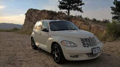 Cool Vanilla 2005 Chrysler PT Cruiser, Torture Chamber rock, Fort Collins