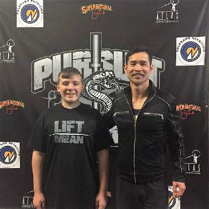 My friend's 13-year-old son Nathan and me during Pursuit Power 2020.