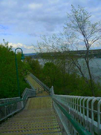 stair steps by St. Lawrence River in Quebec City