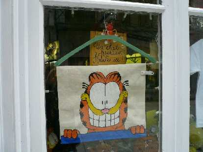 a cloth depicting Garfield the cat hung up on a green hanger in a storefront window in Quebec City