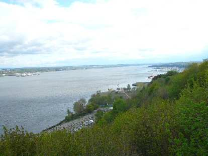 view of the Saint Lawrence River as viewed from a treed hillside