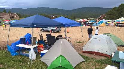 Team Bear Butts' campsite with colorful tents.