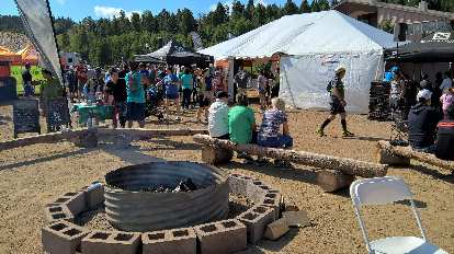 A communal fire pit at 2016 Ragnar Trail Angelfire.