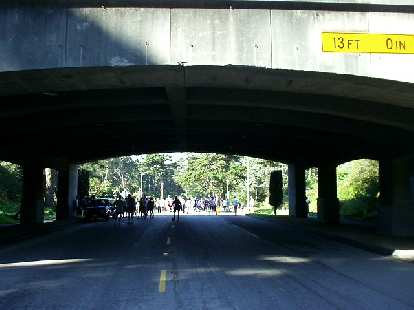 The start/finish was just past this overpass.  During the race I was in 2nd place until Mile 0.75, when the 6-minute milers all passed me and I faded to 12th overall.