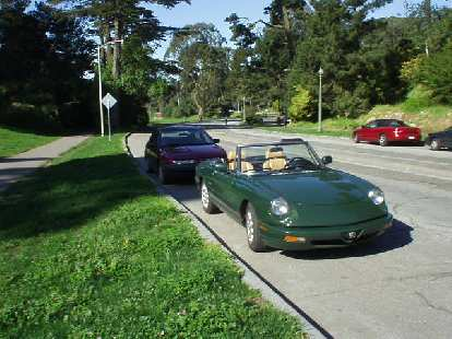 After a whole month I finally got the Alfa back on the road (new U-joints) and it was nice to drive it to SF on such a nice day with the top down.