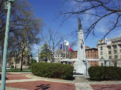 Raleigh is the state capital of North Carolina.  Here's a view of the flags in front...