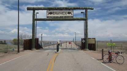 Entrance to the Platte River Power Authority's Rawhide Energy Station, red bicycle