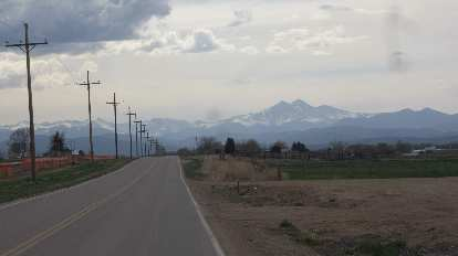 [Mile 123] The view of Longs Peak again, just a couple miles from the finish.