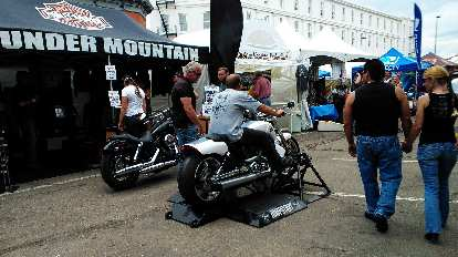 One could test ride a motorcycle on this motorcycle treadmill.