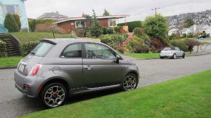 My Fiat 500 rental car in the Magnolia district of Seattle.