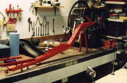 red frame, Reynolds Wishbone recumbent
