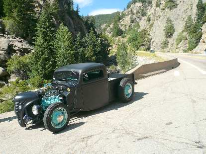 Mike and Margie Nelson's custom 1935 Ford truck took up the rear as the only four-wheeled vehicle in the tour.