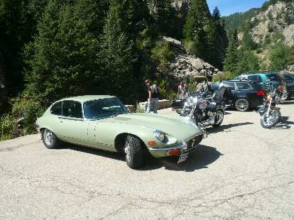 A Jaguar E-type (not part of our tour) was at Boulder Falls.
