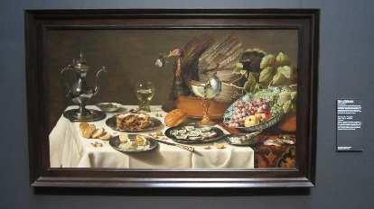 Pieter Claesz: Still Life with a Turkey Pie.