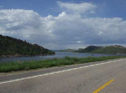 [Mile 160, 4:11 p.m.] Woohoo!  Now in Fort Collins.  The Horsetooth Reservoir was a familiar sight.