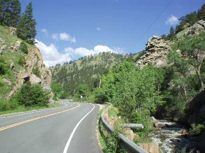 [Mile 74, 9:13 a.m.] Near the start of Lefthand Canyon, above 5400 feet.