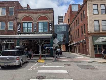 A mix of modern an old buildings on Market Street in Roanoke, Virginia.