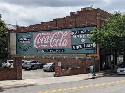 Coca-Cola artwork on the side of a building in downtown Roanoke, Virginia.