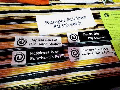 Reptile bumper stickers.